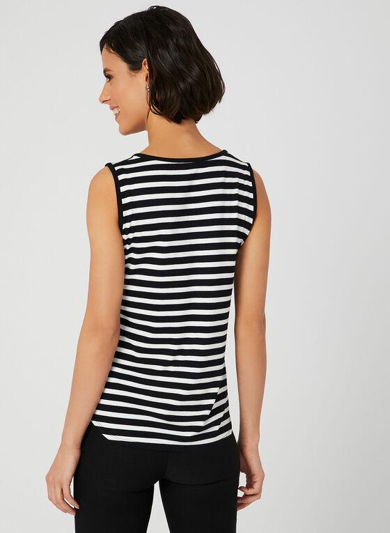 Stripe Print Sleeveless Top, Blue