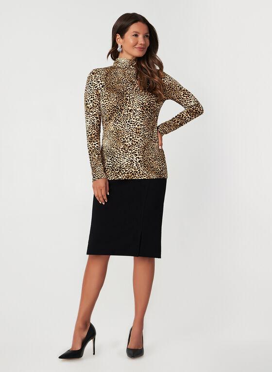 Leopard Print Long Sleeve Top, Brown