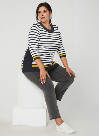 Stripe Print Sweater, Grey, hi-res,  stripe print, fall winter 2019, stretchy knit, 3/4 sleeves