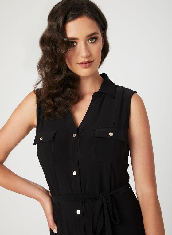 Nina Leonard - Sleeveless Button Down Dress, Black, hi-res