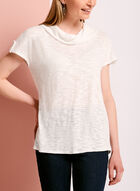 Cowl Neck Slub Knit Top, White, hi-res