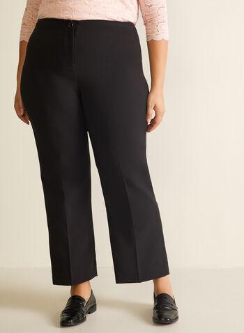 Modern Fit Straight Leg Pants, Black,  pants, modern fit, straight leg, tailored pants, plus pants, mid-rise pants, mid-rise, spring 2020, summer 2020