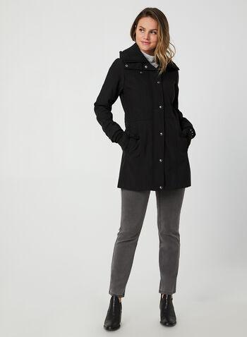 Weatherproof - Hooded Short Coat, Black, hi-res,  Weatherproof, coat, fleece, hood, zipper, fall 2019, winter 2019