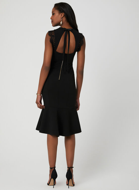 Lace Detail Midi Dress, Black