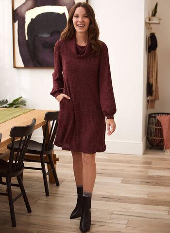 Cowl Neck Rib Knit Dress, Red,  fall winter 2021, made in Canada, dress, day dress, knit dress, ribbed, rib knit, sweater dress, cowl neck, turtleneck, long sleeve, balloon sleebe, pockets, heather, warm