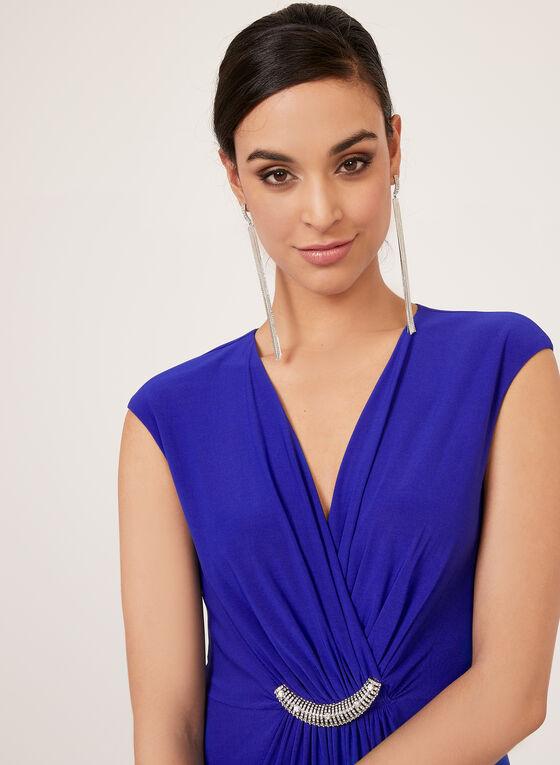 Jessica Howard - Robe drapée sans manches à détail bijou, Bleu, hi-res