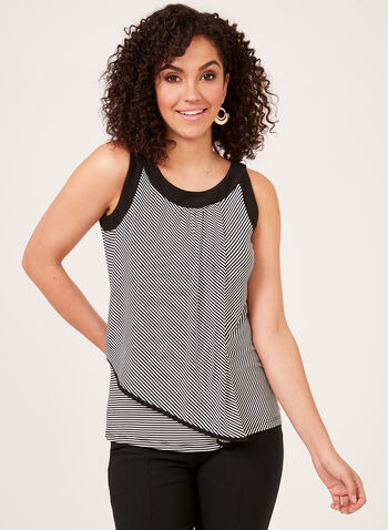 Stripe Print Sleeveless Top, Black, hi-res
