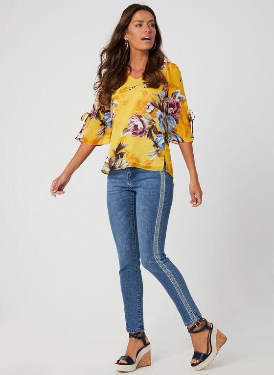 Floral Print ¾ Sleeve Top, Yellow, hi-res