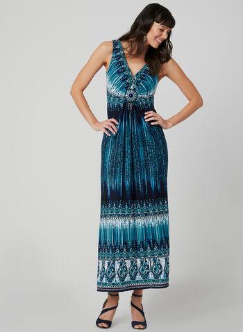 Robe maxi à motif aztèque, Bleu,  printemps été 2019, médaillon, tie dye, délavé, sans manches, robe longue