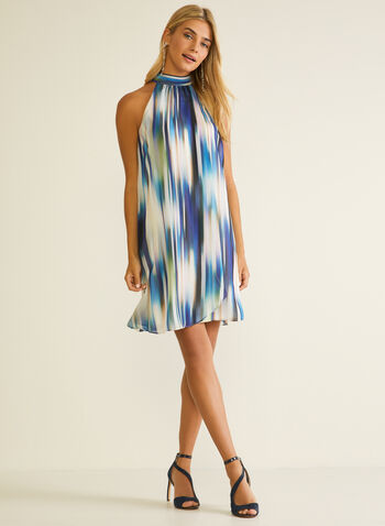 Abstract Print Sleeveless Dress, Blue,  day dress, sleeveless, chiffon, abstract, high neck, spring summer 2020
