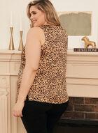 Leopard Print V-Neck Blouse, Brown