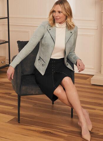 Stud Detail Straight Skirt, Black,  Fall winter 2020, skirt, straight, ponte de Roma, studded