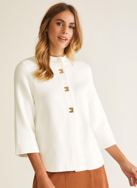 Button Front Trapeze Cardigan, White