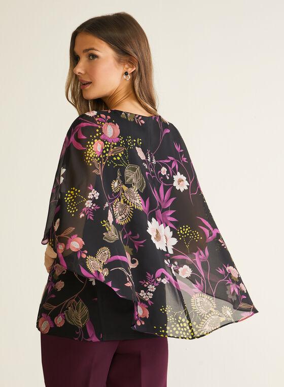 Blouse fleurie style cape, Noir