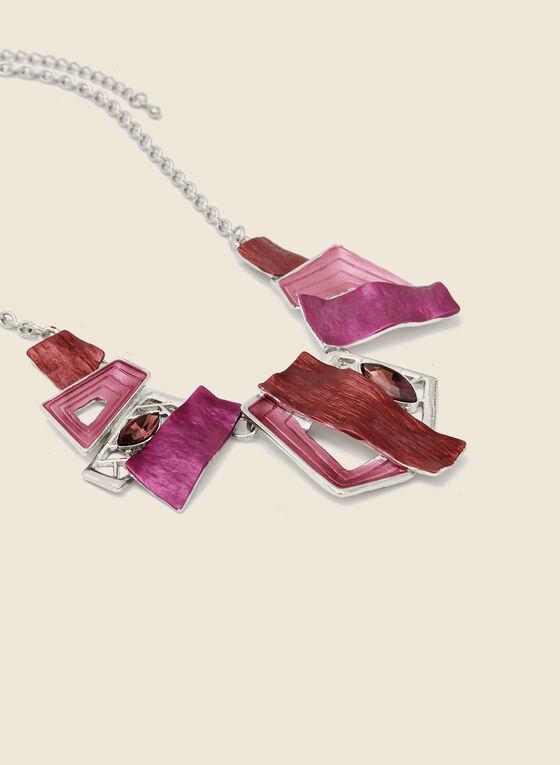 Ensemble collier et boucles d'oreilles géométriques, Rose