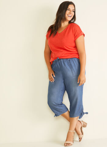 Blossom - Knot Detail Tencel Capris, Blue,  capris, pull-on, denim, tencel, drawstring, knot detail, spring summer 2020