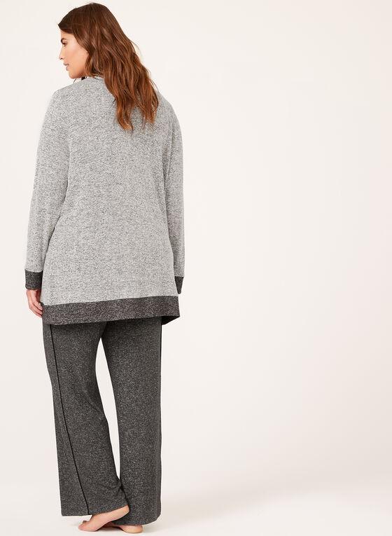 Cardigan douceur contrasté en tricot chiné, Gris, hi-res