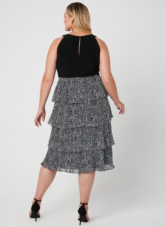 Polka Dot Print Chiffon Dress, Black, hi-res