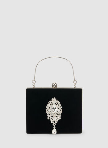 Pochette à anse métallique et cristaux, Noir, hi-res,  sac à main, velours, cristaux, automne hiver 2019, sac de soirée, sacoche