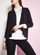 3/4 Sleeve Open Front Top, Black, hi-res
