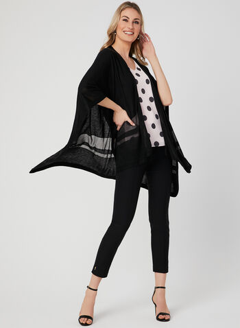 Lightweight Open Front Poncho, Black, hi-res,