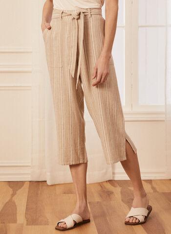 Pantalon gaucho à rayures, Brun,  capri, gaucho, à enfiler, pull-on, jambe large, ceinture, poches, fentes, lin, printemps été 2021