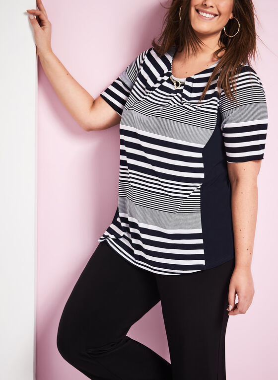 Stripe Print Chain Trim Top, Blue, hi-res
