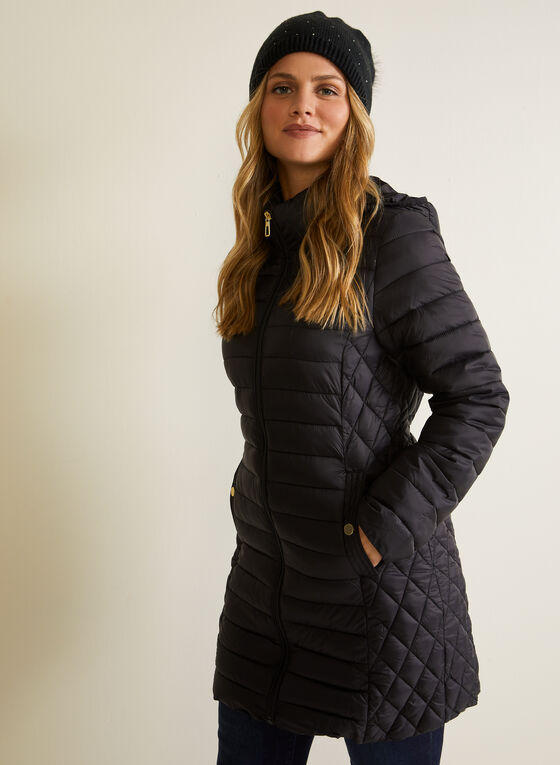 Quilted Packable Coat, Black