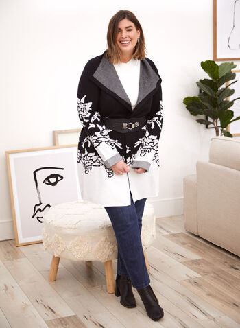 Joseph Ribkoff - Floral Print Cardigan, Black,  fall 2021, joseph ribkoff, cardigan, sweater, long, length, open front, contrast, floral print, lapel collar, knit, comfy, fabric