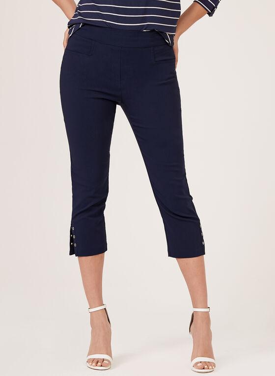 Pull-On Bengaline Capri Pants, Blue, hi-res