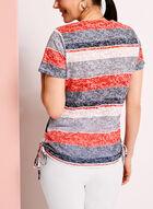 Side Tie Stripe Print T-Shirt, Blue, hi-res
