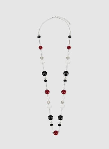 Bead & Crystal Necklace, Red, hi-res