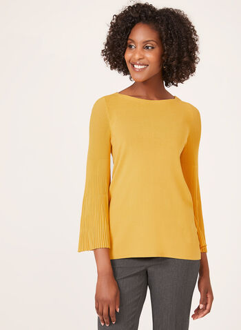 Pleated Bell Sleeve Sweater, Yellow, hi-res