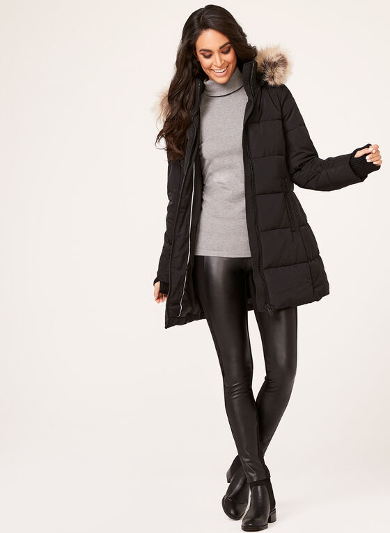 Novelti - Reflective Faux Down Coat, Black, hi-res