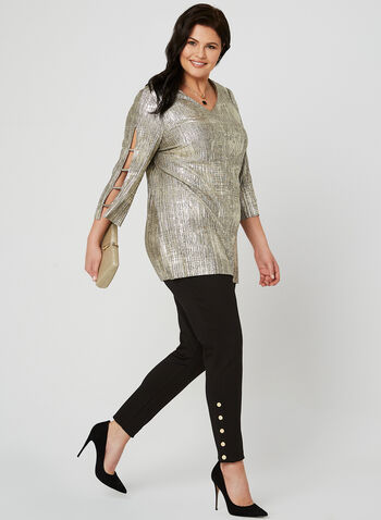 Metallic Knit Top, Yellow, hi-res