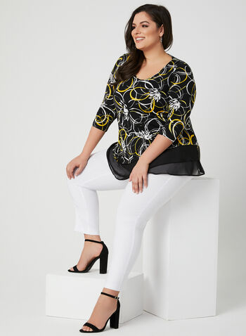 Abstract Print ¾ Sleeve Top, Black, hi-res,  floral, jersey, v-neck, spring 2019
