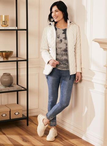 Novelti - Manteau matelassé contrastant, Gris,  printemps été 2020, manteau, manteau de printemps, matelassé, capuchon, zip, Novelti, poches