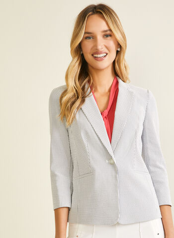 Stripe Print Single-Button Blazer, Blue,  blazer, striped, 3/4 sleeves, single button, faux pockets, spring summer 2020