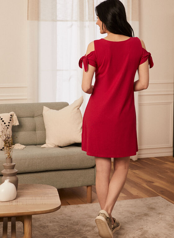 Tie Detail Cold Shoulder Dress, Pink