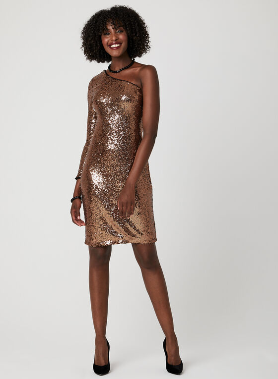 One Shoulder Sequin Dress, Brown, hi-res