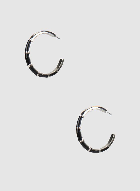 Boucles d'oreilles à anneaux ouverts, Noir, hi-res