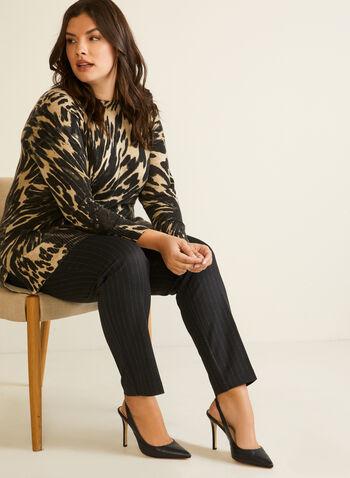 Pull en tricot à motif léopard, Brun,  automne hiver 2020, pull, sans manches, tricot, chandail, motif, léopard, animal, encolure bateau, confort