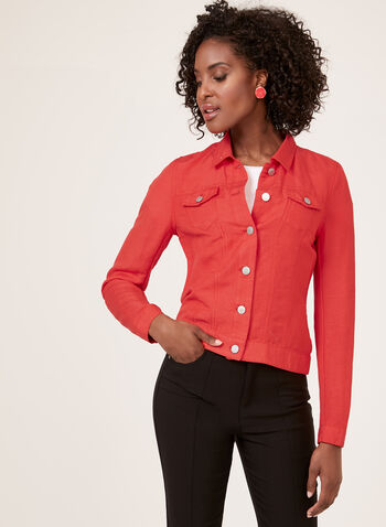 Denim Style Linen Jacket , Red, hi-res