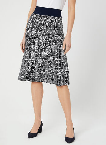 Abstract Dot Print Skirt, Blue, hi-res