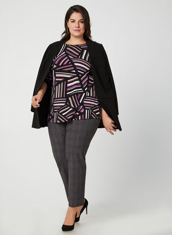 Geometric Print Jersey Tunic, Black,  canada, tunic, top, blouse, jersey, comfortable top, boat neck, 3/4 sleeves, geometric print, print, striped, striped print top, fall 2019, winter 2019