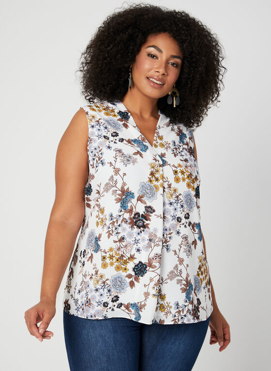 V-neck Crepe Blouse, White