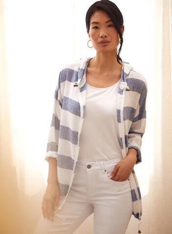 Charlie B - Cotton Linen Hooded Jacket, Blue,  spring summer 2021, Charlie B, hoodie, hooded jacket, jacket, striped, stripe print, stripe motif, contrast, cotton, linen, linen blend, cotton linen, hood, open, open front, drawstring, drop shoulder, 3/4 sleeve