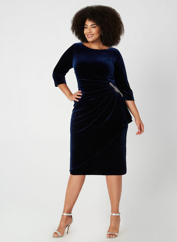 3/4 Sleeve Velvet Dress, Blue, hi-res,  fall winter 2019, velvet, sheath, long sleeve dress, crystal detail