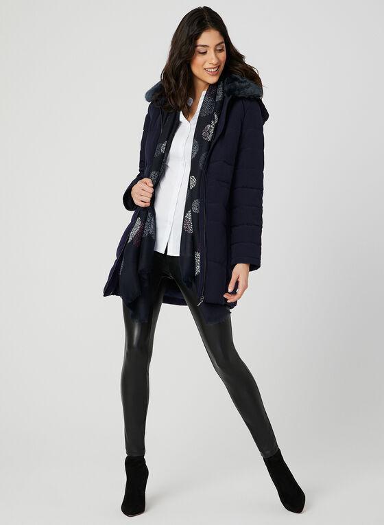 Manteau à col en fausse fourrure et capuchon, Bleu, hi-res