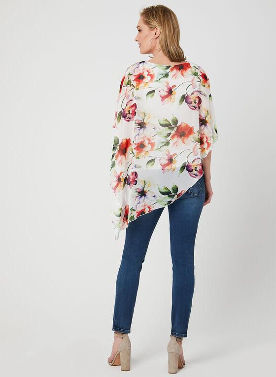 Blouse poncho à fleurs, Blanc, hi-res
